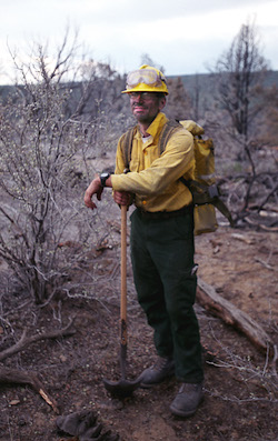 Michael Kodas at the Bluebird Fire in Colorado in 2003 during the summer he worked as a wildland firefighter for the U.S. Forest Service in order to report on the increasing frequency and size of wildfires in the western United States.
